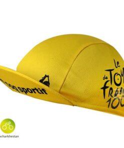 کلاه عرق گیر دوچرخه سواری تور د فرانس رنگ زرد