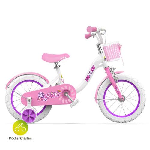 دوچرخه بچه گانه قناری مدل لالی پاپ رنگ سفید و صورتی
