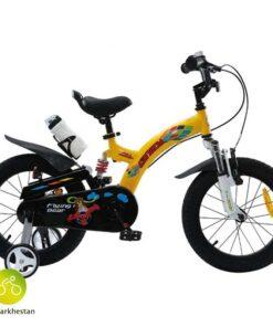 دوچرخه بچه گانه قناری مدل فلاین بر رنگ زرد