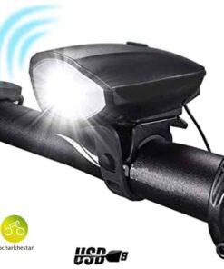 چراغ شارژی جلو بوق دار دوچرخه سواری وایب مدل 0310